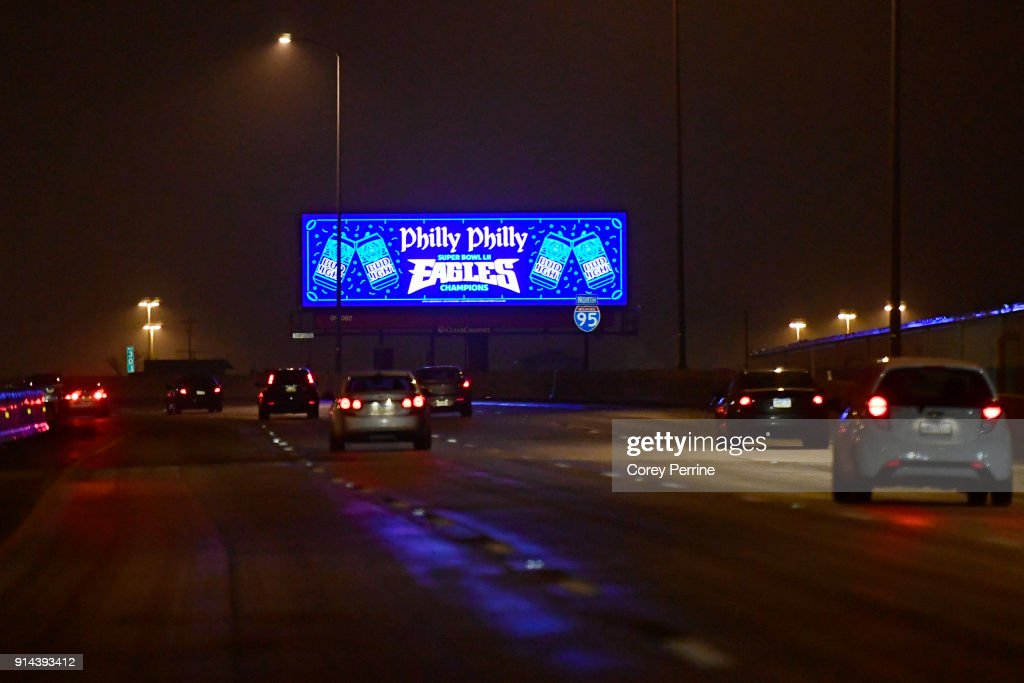 A billboard congratulates the Eagles' Super Bowl LII win on I-95 northbound February 4, 2018 in Philadelphia, Pennsylvania. The Philadelphia Eagles defeated the favored New England Patriots winning their first Super Bowl championship 41-33.