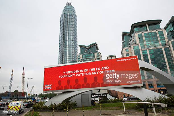 A billboard displaying an advert for a new European Union referendum campaign called 'Brexit Express' launched by City financier Jeremy Hosking in...