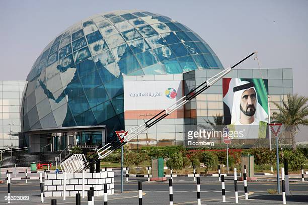 A billboard displays a picture of Sheik Mohammed bin Rashid Al Maktoum at the Global Village in Dubai United Arab Emirates on Thursday April 8 2010...