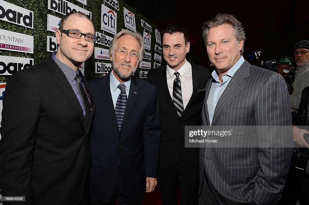 Billboard Editorial Director Bill Werde, President/CEO of The Recording Academy Neil Portnow, Billboard Publisher Tommy Page, and Guggenheim Digital Media CEO Ross Levinsohn attend the 1st Annual Billboard Power 100 Event honoring Clive Davis at The Redbury Hotel on February 7, 2013 in Hollywood, California.