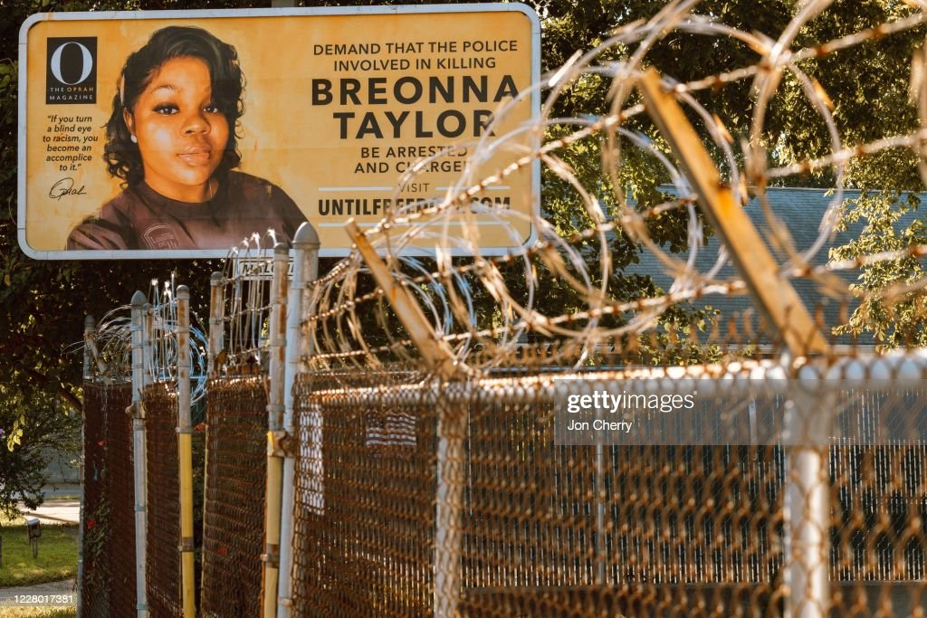 Billboards Placed Across Louisville Call For The Arrest Of Police Officers Involved In Killing Of Breonna Taylor : News Photo