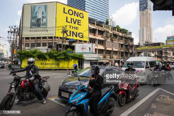 A billboard featuring a portrait of King Maha Vajiralongkorn reads Long live the King in Bangkok Thailand on Wednesday Sept 2 2020 Thailand has...