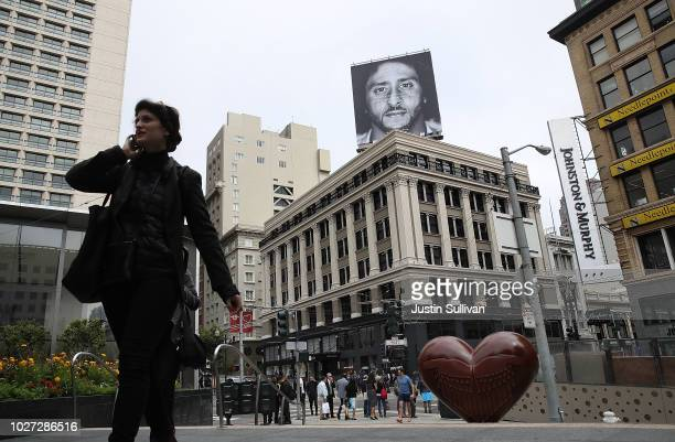 A billboard featuring former San Francisco 49ers quaterback Colin Kaepernick is displayed on the roof of the Nike Store on September 5 2018 in San...