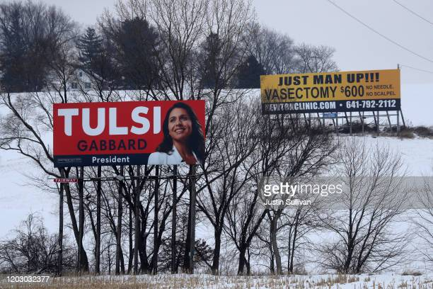 Billboard for Democratic presidential candidate Rep. Tulsi Gabbard stands in a corn field on January 30, 2020 in Newton, Iowa. Iowa holds the state's...