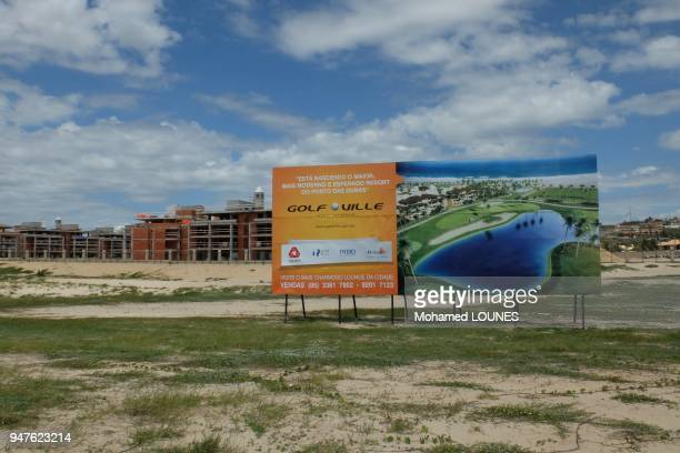 Billboard for residential resort in Porto Das Dunas neighborhood in May 2013 in Aquiraz Brazil