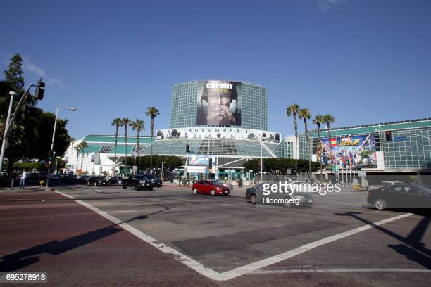 A billboard for the Activision Blizzard Inc Call Of Duty WWII video game is displayed outside the Los Angeles Convention Center ahead of an Ubisoft...