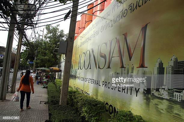 Billboard for the construction site of ' Icon Siam ' the biggest community mall project in Thailand The THB 50billion Chao Phraya river side...