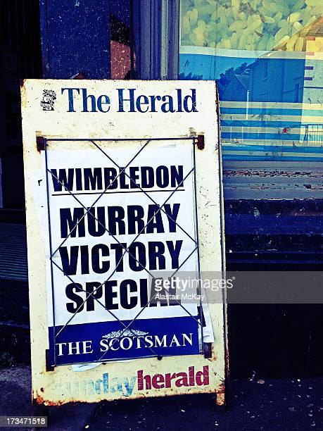 CONTENT] A billboard for The Scotsman newspaper the day after Andy Murray's victory in the 2013 Wimbledon tennis championships