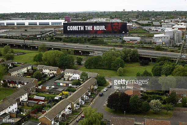 A billboard from Adidas of David Beckham of Manchester United and England Captain on the Dunlop building in BirminghamEngland on May 182002 DIGITAL...