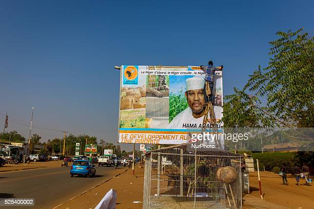 Billboard in construction of Hama Amadou main opposition candadite for the general elections on February 21st Niamey February 16th 2016