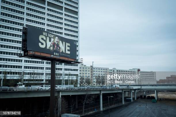 A billboard in downtown Atlanta with Miguel Almiron of Atlanta United and the words 'We Gon' Shine' the day before the 2018 Audi MLS Cup Championship...