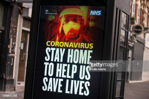 NHS billboard in Stamford Hill on April 8 2020 in London England The Jewish community is preparing to celebrate Passover amid COVID19 home isolation...