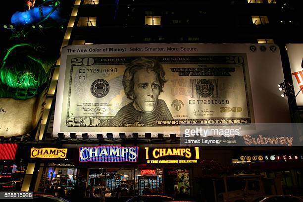 A billboard in Times Square advertises the new $2000 bill that was issued in October 2003 It is the first multicolored US banknote in over 100 years