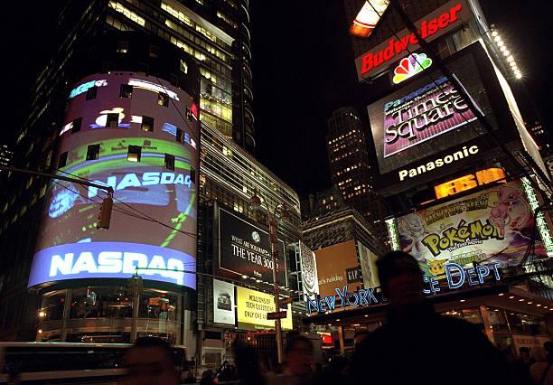 NASDAQ billboard is lit up in Times Square.