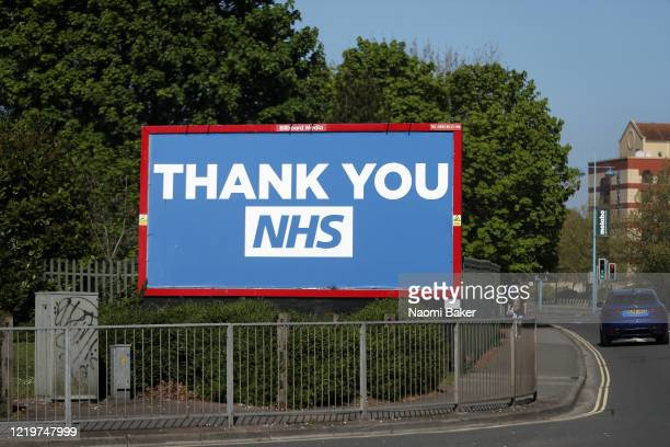 A billboard is seen saying 'THANK YOU NHS' on April 19 2020 in Southampton England In a press conference on Thursday First Secretary of State Dominic...