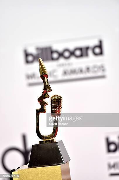 Billboard Music Award trophy is displayed in the press room during the 2016 Billboard Music Awards at TMobile Arena on May 22 2016 in Las Vegas Nevada