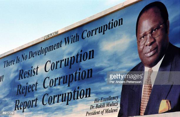 Billboard of Bakili Muluzi, the President of Malawi, displays a message of anti-corruption June 13, 2002 in Lilongwe, Malawi. President Muluzi is...