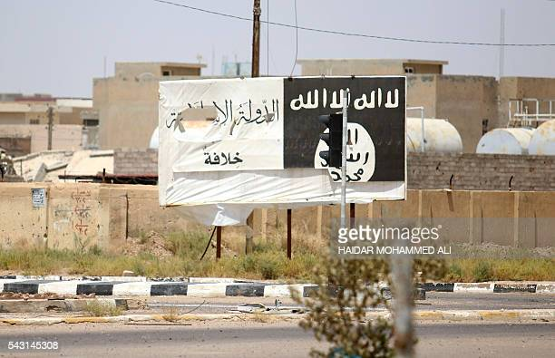 A billboard of the Islamic State group is seen in Fallujah 50 kilometres from the Iraqi capital Baghdad after Iraqi forces retook the embattled city...