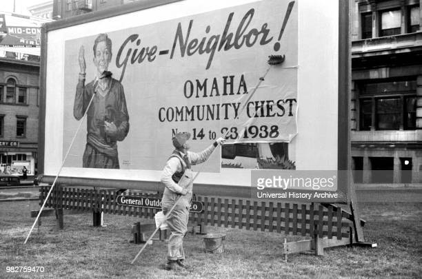 Billboard on Courthouse Lawn Omaha Nebraska USA John Vachon for Farm Security Administration November 1938