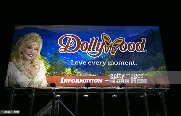 A billboard on The Parkway promotes Dolly Parton's Dollywood as viewed on October 18 2016 in Pigeon Forge Tennessee Located near the entrance to...