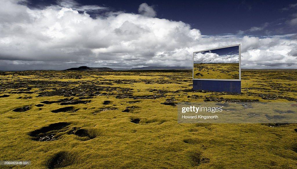 Billboard on volcanic plain : ストックフォト