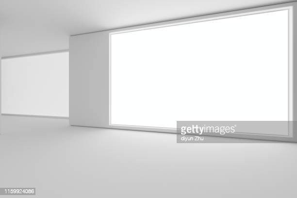 billboard on wall,3d render - lightbox stock pictures, royalty-free photos & images