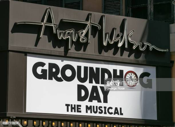 A billboard outside the August Wilson Theater promotes the Broadway production of Groundhog Day The Musical as viewed on June 10 2017 in New York...
