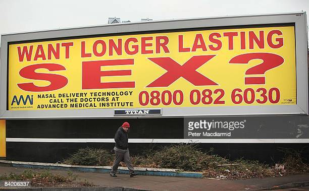 A billboard poster advertising a nasal spray for male sexual problems is displayed on January 8 2009 in London England The ASA has asked the Advanced...