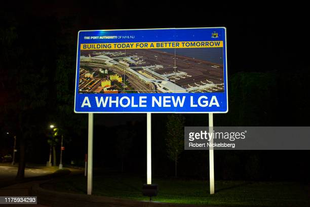 Billboard promotes the $8 billion overhaul and redesign of the LaGuardia Airport in the Queens borough of New York City on September 16, 2019....