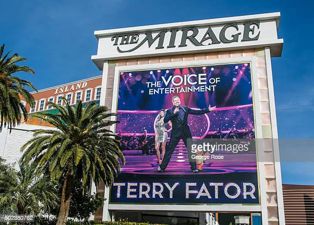 """Billboard promotes the Terry Fator show at the Mirage Hotel & Casino on December 7, 2015 in Las Vegas, Nevada. Tourism in America's """"Sin City"""" has,..."""
