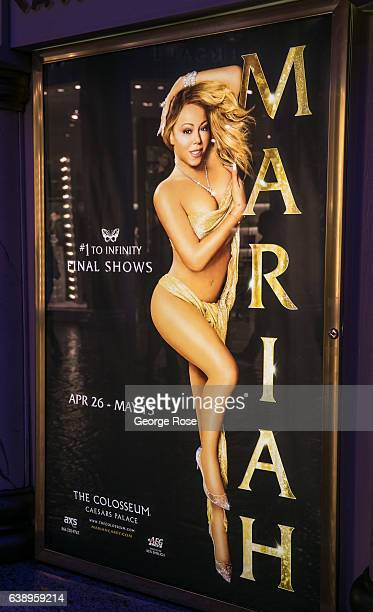 A billboard promotes upcoming Mariah Carey concerts at Caesars Palace Hotel Casino on January 3 2017 in Las Vegas Nevada Tourism in America's Sin...