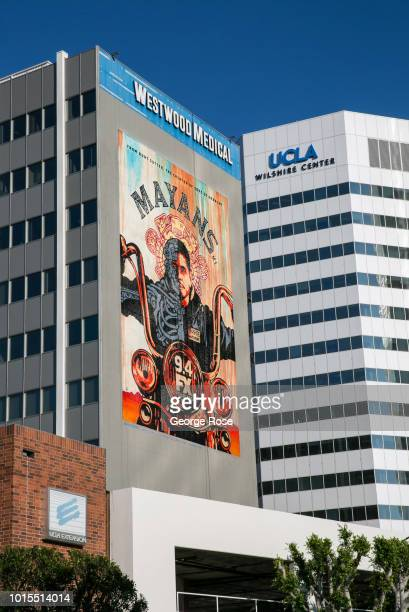 A billboard promoting the new TV show Mayans is viewed on the side of the Westwood Medical building on Wilshire Blvd in Westwood Village on August 7...