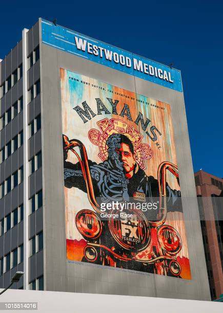 """Billboard promoting the new TV show """"Mayans"""" is viewed on the side of the Westwood Medical building on Wilshire Blvd in Westwood Village on August 7,..."""