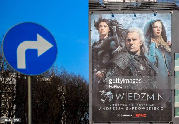 A billboard promoting 'The Witcher' Netflix television series is seen on the day of the premiere of the first season in Krakow Poland on 20 December...