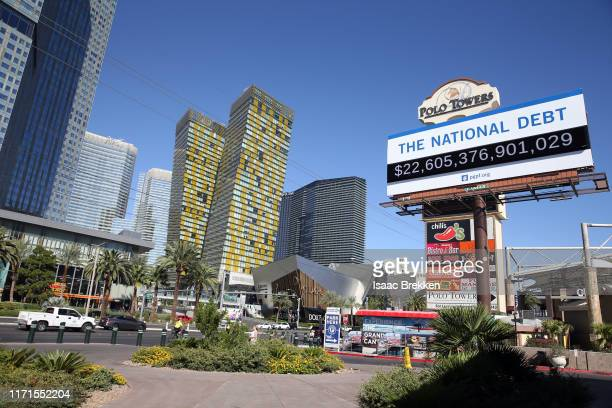 Billboard showing the national debt and each Americans share is displayed on September 19 2019 in downtown Las Vegas Nevada