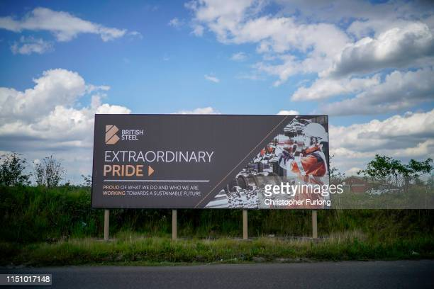 A billboard stands outside Scunthorpe's British Steel's which has been forced into liquidation today on May 22 2019 in Scunthorpe England The High...