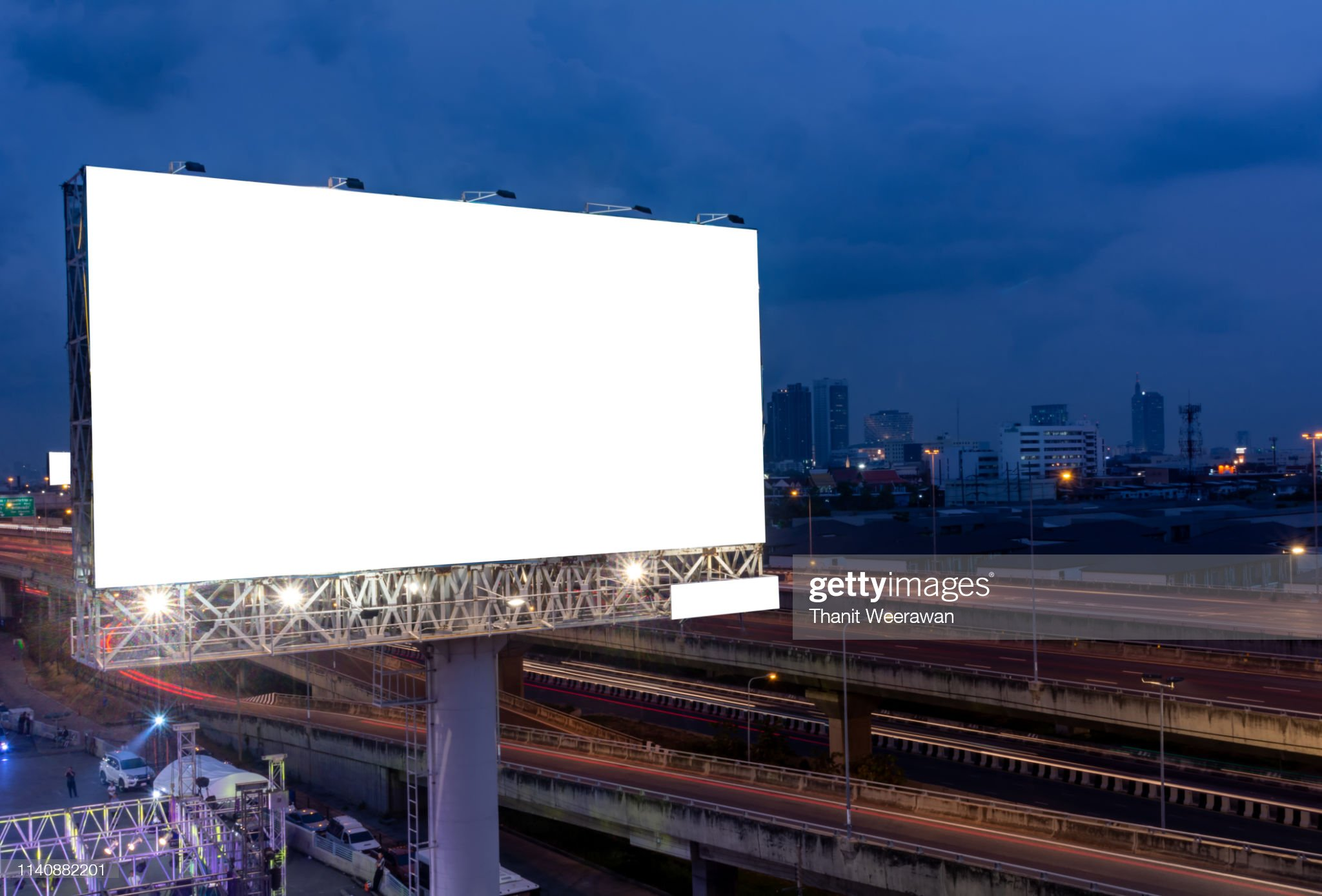 Billboard street on light trails for outdoor advertising poster or blank billboard at night time for advertisement. street light. : Stock Photo