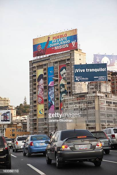 A billboard supporting President Hugo Chavez on the roof of a building in Caracas Venezuela 28th February 2013