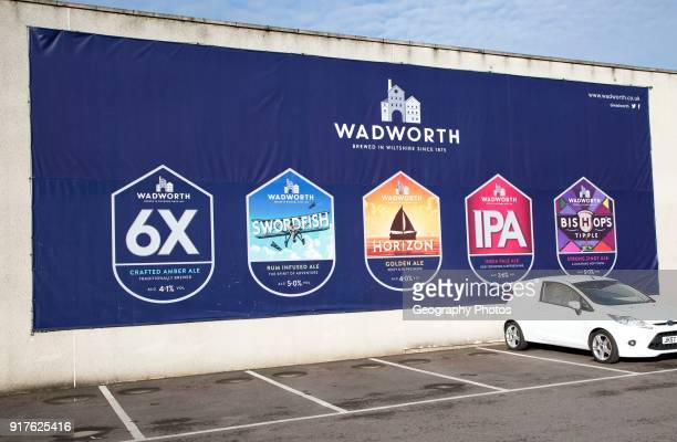 Billboard traditionally brewed beer advertising poster at Wadworth brewery Devizes Wiltshire England UK