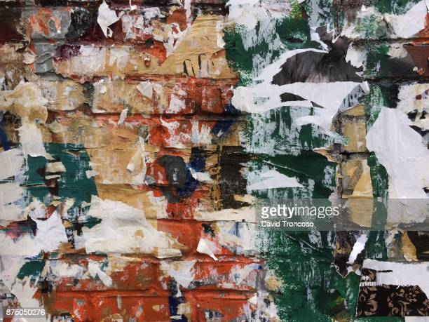 billboard wall - ugly wallpaper stock photos and pictures