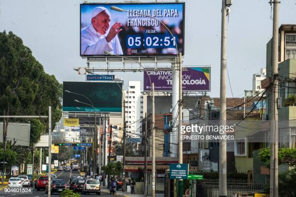 A billboard welcoming Pope Francis to Peru is seen in Lima on January 13 2018 Pope Francis will visit the cities of Puerto Maldonado Trujillo and...