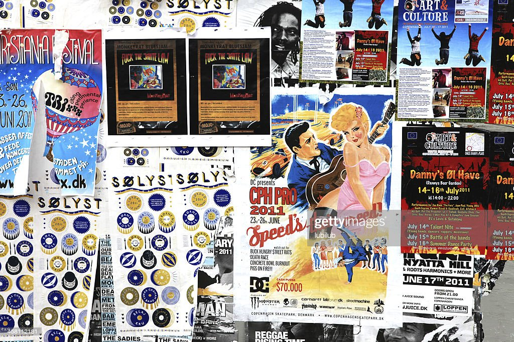 Billboard with posters advertising for culture, music and art : Stock Photo