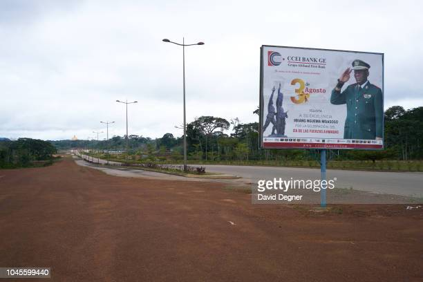 August 16: A billboard with president Teodoro Obiang Nguema Mbasogo stands over the empty streets of the new capital city on August 16, 2018 in...
