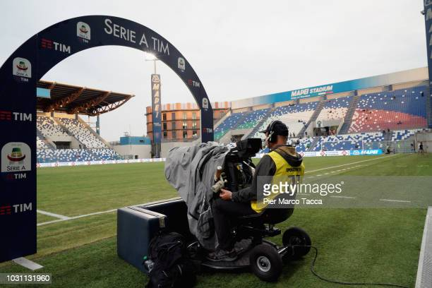A billboard with the soccer series league logo is displayed prior the serie A match between US Sassuolo and Genoa CFC at Mapei Stadium Citta' del...