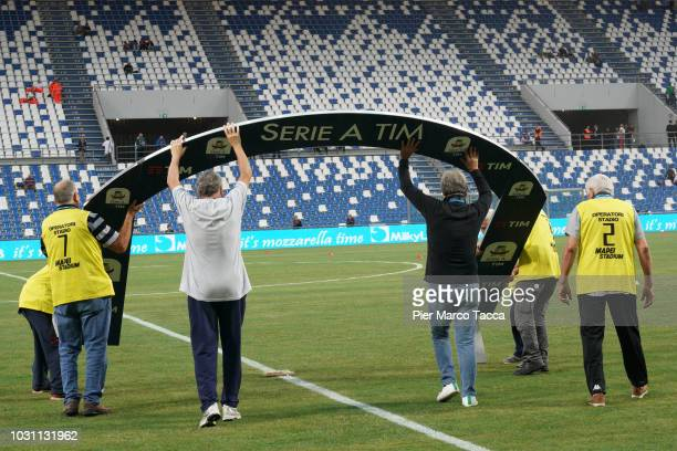 Billboard with the soccer series league logo is displayed prior the serie A match between US Sassuolo and Genoa CFC at Mapei Stadium - Citta' del...
