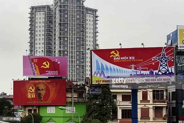 Billboards advertising the 12th National Congress of the Communist Party of Vietnam are displayed in Hanoi Vietnam on Tuesday Jan 26 2016 Vietnam's...