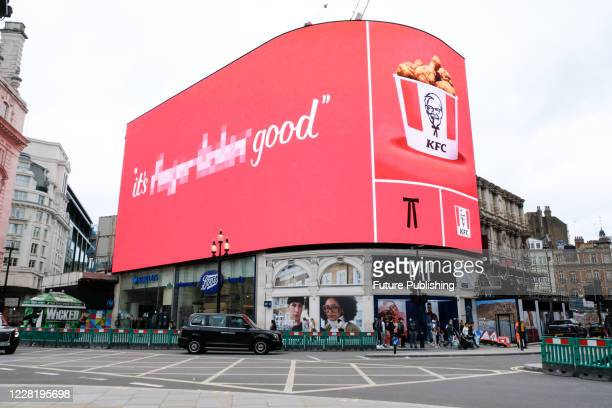 Billboards for KFC removing its iconic slogan 'It's Finger Lickin' Good as it does not fit in wake of the Coronavirus pandemic. PHOTOGRAPH BY:...