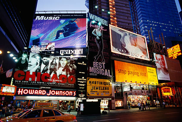 Billboards in Times Square at Dusk
