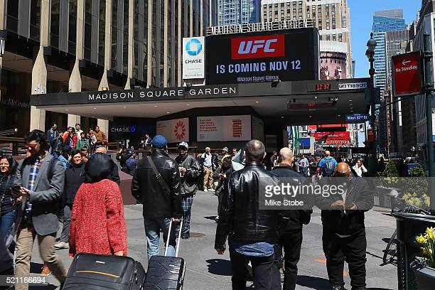 Billboards is seen after a bill is signed to legalize Mixed Martial Arts fighting in the state during a ceremony at Madison Square Garden on April...