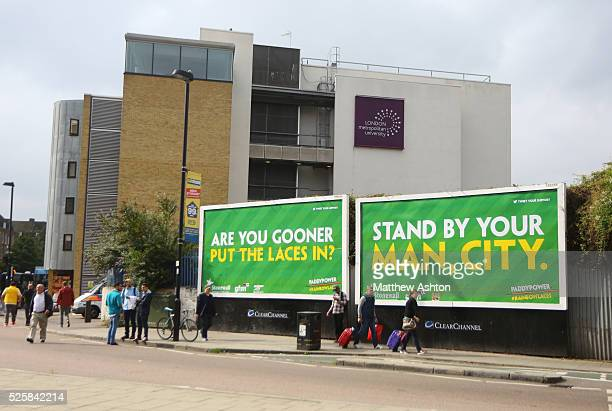 Billboards outside the Emirates stadium home of Arsenal with adverts for the Rainbow laces antihomophobia campaign #rainbowlaces